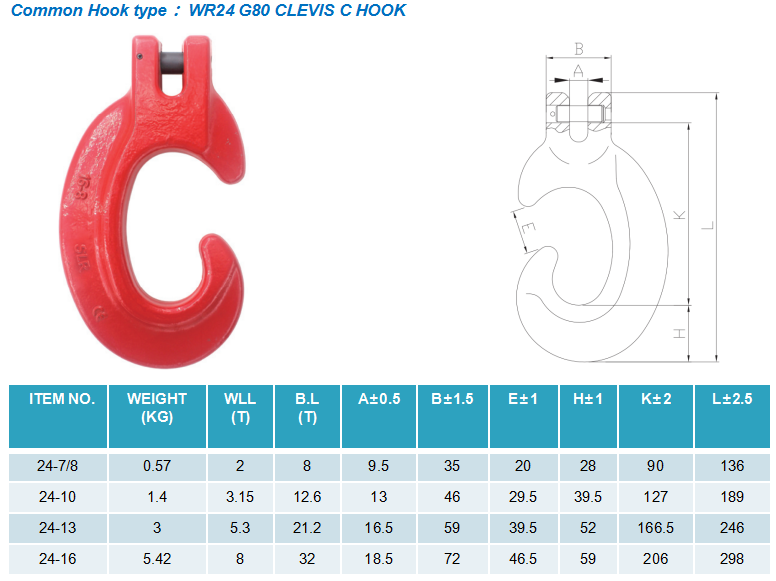 1 Leg Lifting Chain Sling with Clevis C hook - G80