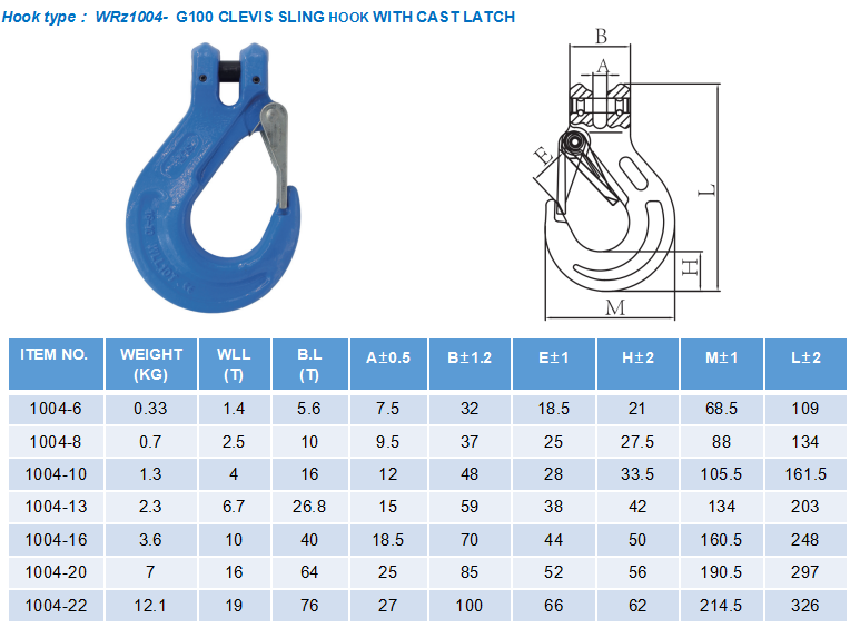 1 Leg Lifting Chain Sling - Clevis Hook - G100
